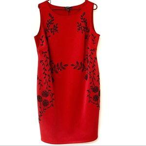 DRESS BARN Red w/Blk Flower Beaded Design Dress 2X